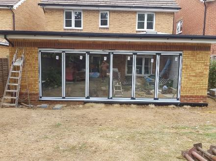 orangery extension with bifold doors, lantern roof